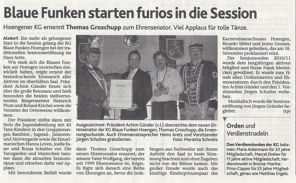 Aachener Nachrichten vom 12.11.2011