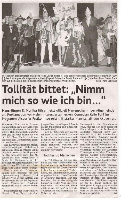 Aachener Nachrichten vom 21.11.2007