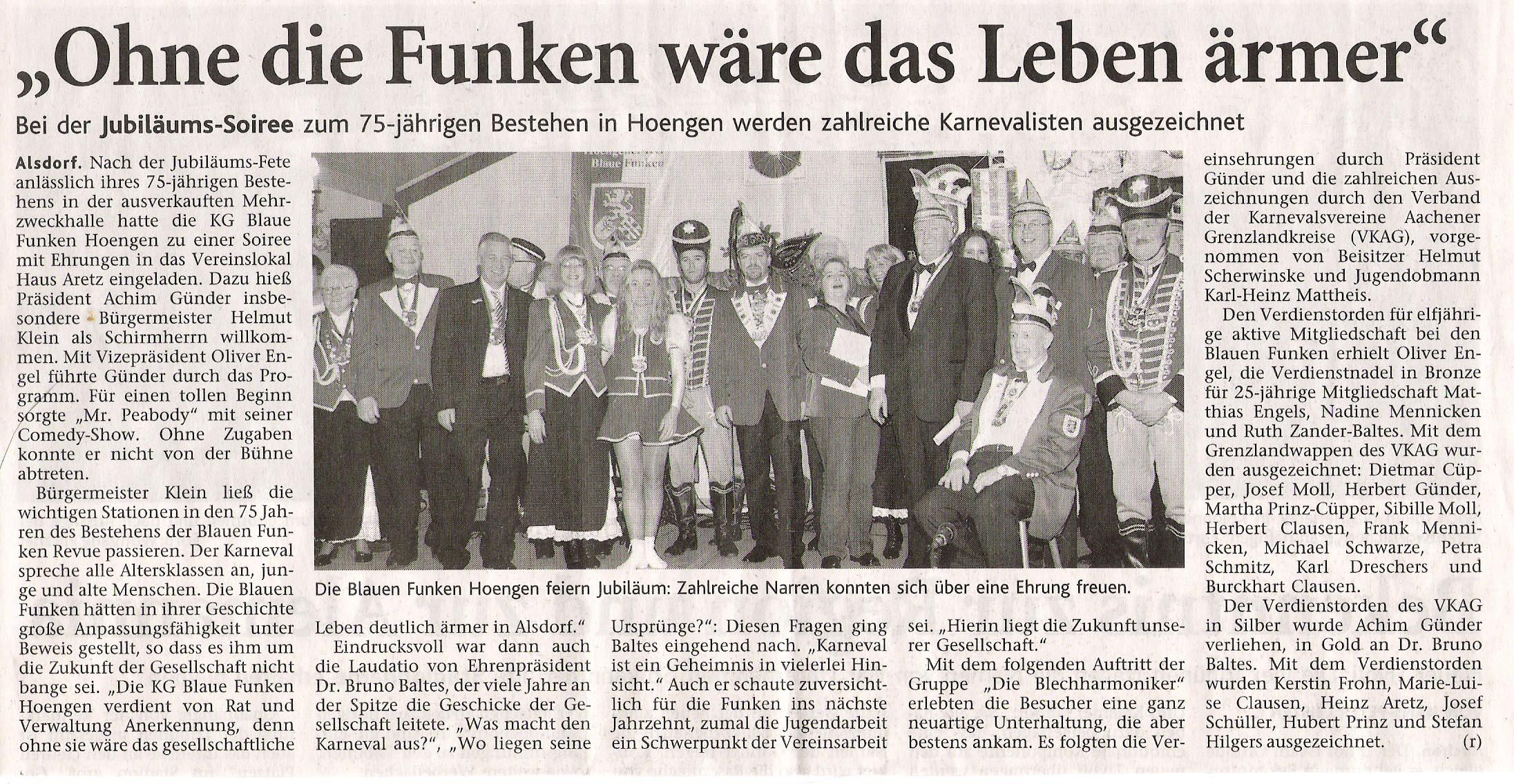 Aachener Nachrichten vom 15.11.2008