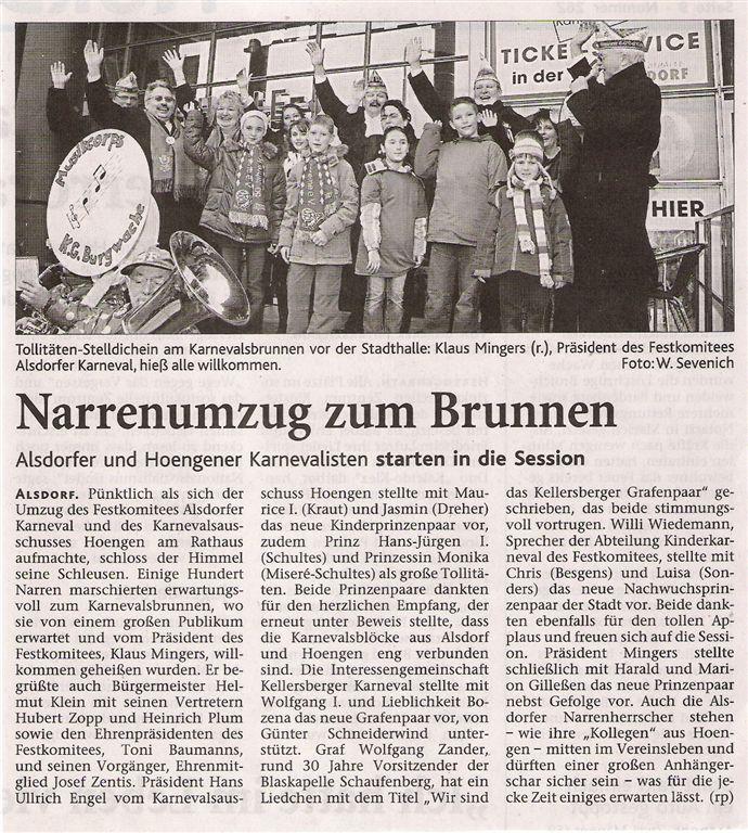 Aachener Nachrichten vom 12.11.2007